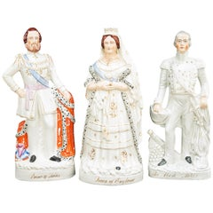 Collection of 7 19th Century Staffordshire Pottery Royal Figures of LargeScale