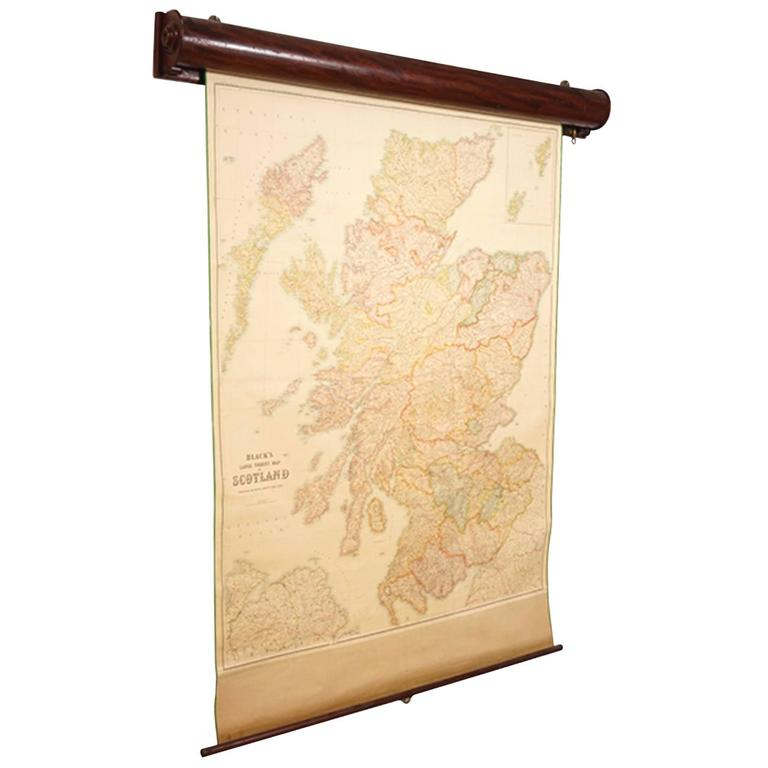 Blacks Large Tourist Map of Scotland in Retractable Mahogany Case 1