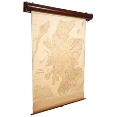 Blacks Large Tourist Map of Scotland in Retractable Mahogany Case