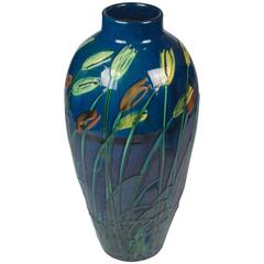 Red and Yellow Flower Ceramic Vase by Max Laeuger, 1890s