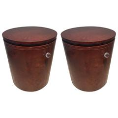 Pair of Milo Baughman Drum Burl End Tables Cabinets Nightstands