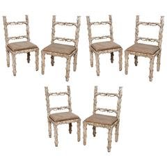 Set of Six Carved White Painted Wooden Chairs with a Faux Tree Trunk Design