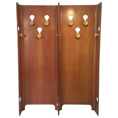 Italian Midcentury Walnut and Bakelite Standing Coat Rack, 1955