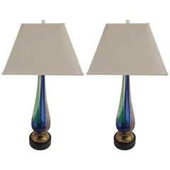 Pair of Murano Venetian Vintage Colored Glass Extra Large Tall Lamps