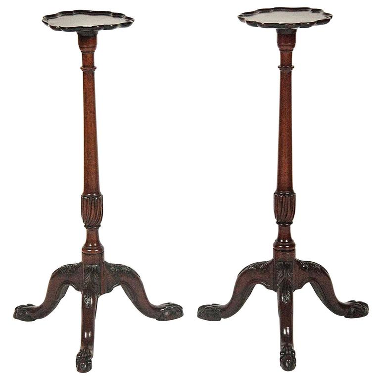 Pair of George III Mahogany Torcheres