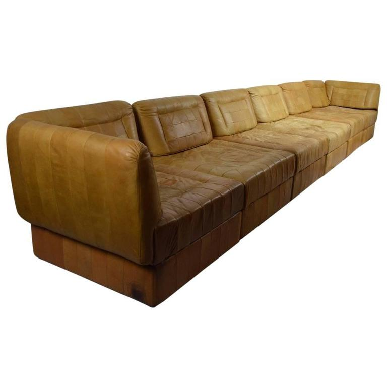 Leather Patchwork Sectional Sofa By Percival Lafer
