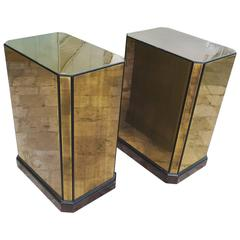 Drexel Brass and Wood Pedestals or Dining Table Bases