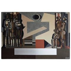 Mid-Century Modern Oil Painting on Wood by Hungarian Artist Bencze Laszlo
