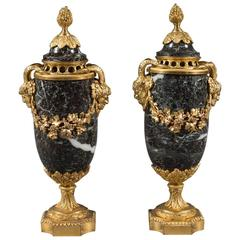 Pair of Louis XVI Style 19th Century French Ormolu Bronze & Marble Cassolettes