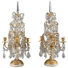 Pair of French Louis XVI Style Gilt Bronze and Crystal 19th Century Girandoles