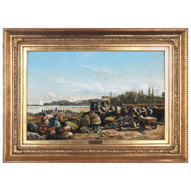 Danish 19th Century Coastal Landscape Painting by Carl Lund For Sale