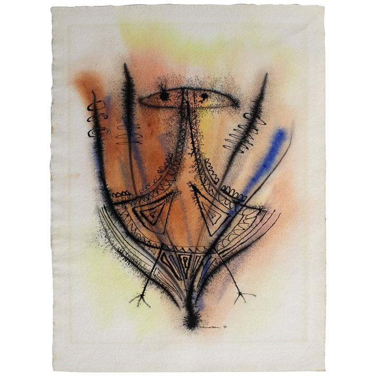 Abstract Ink and Watercolor Drawing by Tobias Schneebaum For Sale