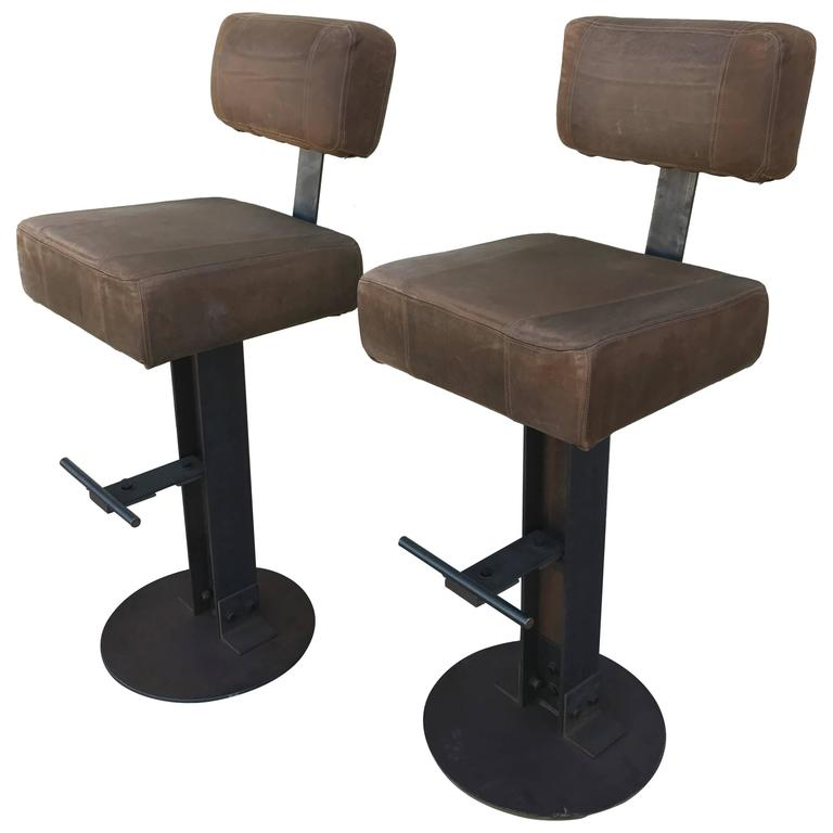 Pair of Brown Leather and Steel Industrial Bar Stools