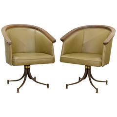 Pair of Olive Tone Swivel Armchairs by Troy Sunshade Company