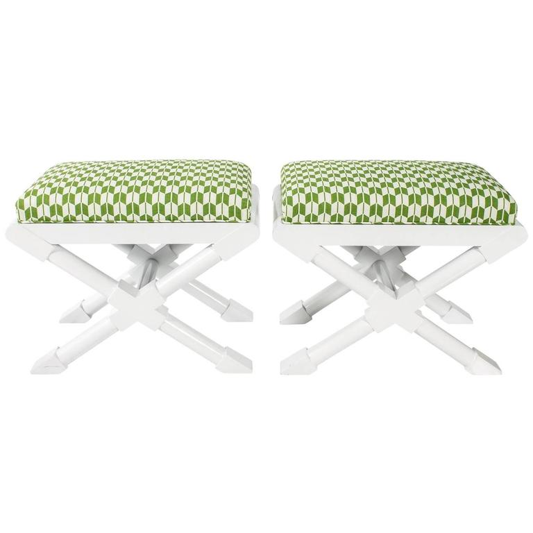 "White and Green ""x"" Benches"