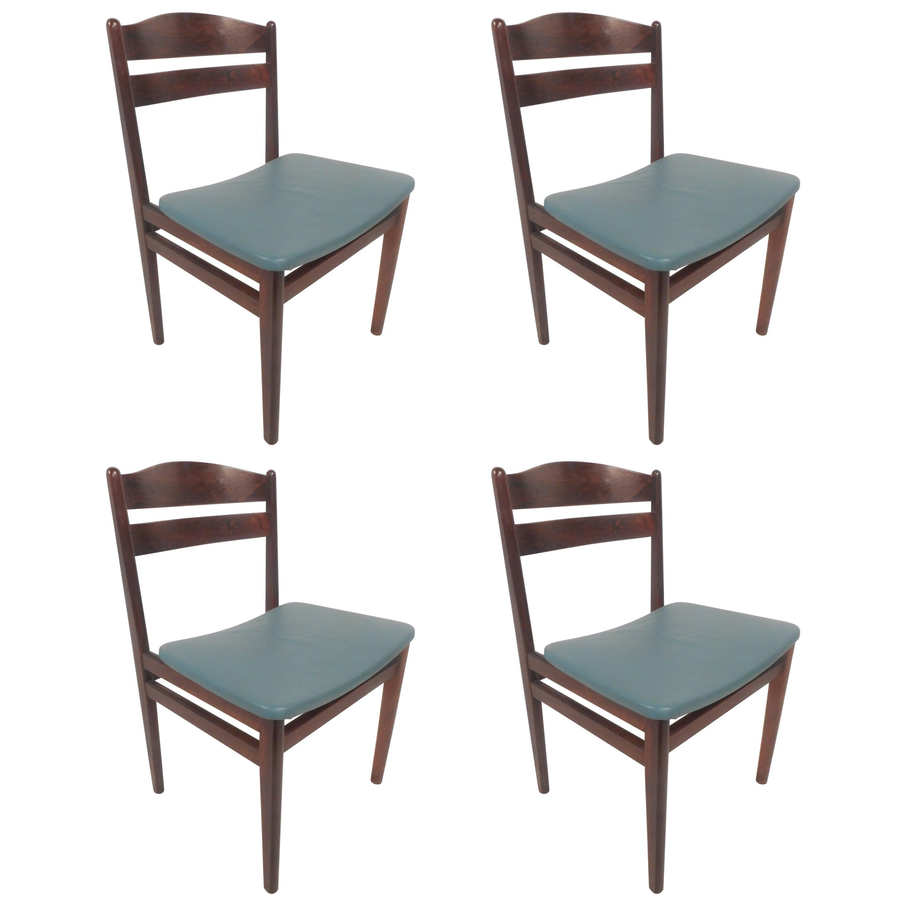 Set of Four Mid-Century Modern Danish Rosewood Dining Chairs with Leather Seats