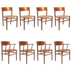 Børge Mogensen Teak and Seagrass Dining Chair Set