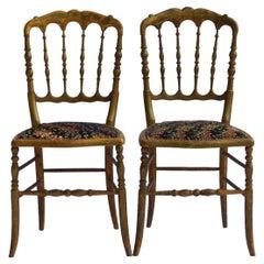 Pair of Side Chairs French Napoleon III Chiavari