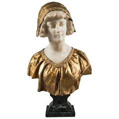 Affortunato Gory, Italian Gilt Bronze and Marble Bust, Late 19th Century, Signed