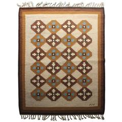 Swedish Rölakan Rug with Geometric Pattern