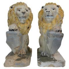 Pair of Painted Concrete Garden Lion Statues