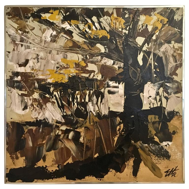 Mid-Century Modern Abstract Impressionist Painting, Signed by Artist
