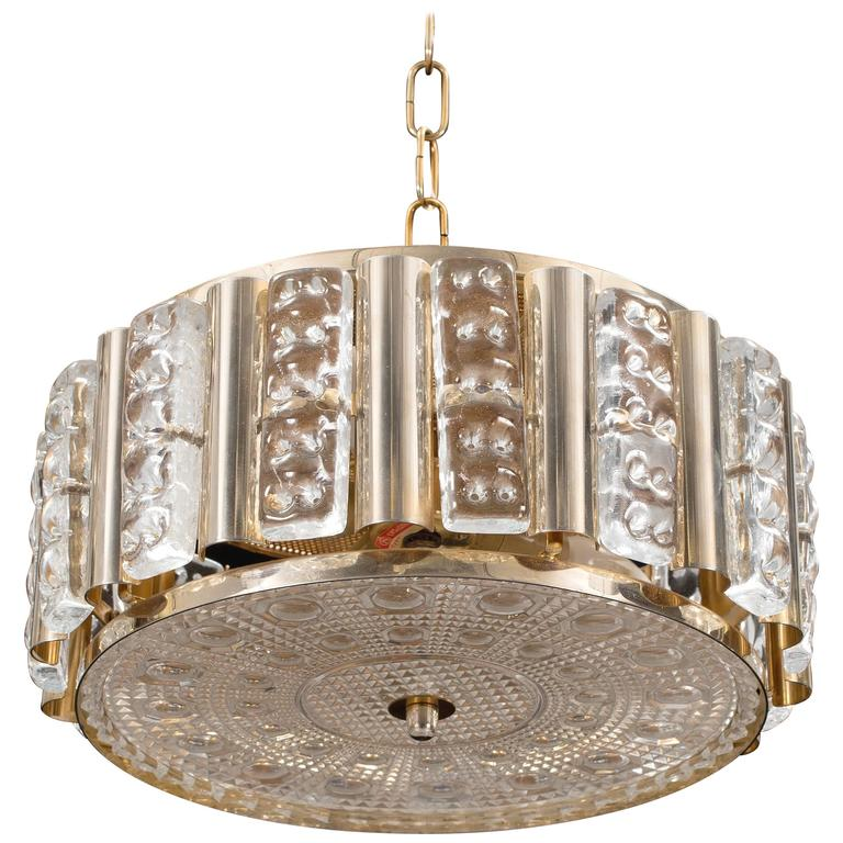 Ceiling Lamp, Glass and Brass Case