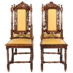 Antique Set of Four Carved Oak Renaissance-Revival Chairs, circa 1875