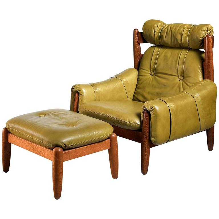 Oak Lounge Chair and Ottoman with Green Leather Cushions, Brazilian