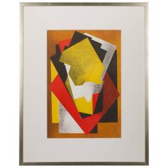 Jacques Villon Color Aquatint Cubist Composition, 1927 Signed