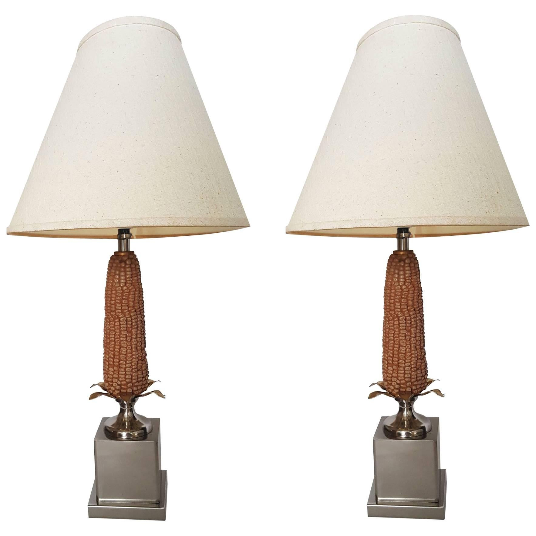 """Pair of French """"Corn"""" Lamps"""