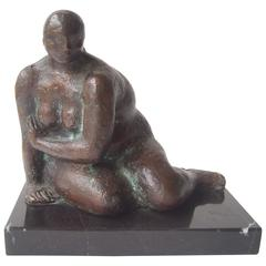 Felipe Castaneda Bronze Sculpture on Marble Base, Signed, Dated