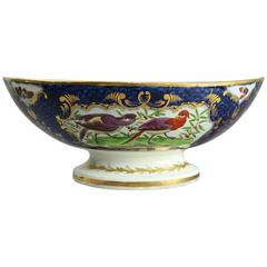 Antique English Hand-Painted Chelsea School Porcelain Footed Compote, circa 1830