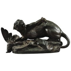 Well Made Antique Bronze Model of a Lioness by Leon Bureau