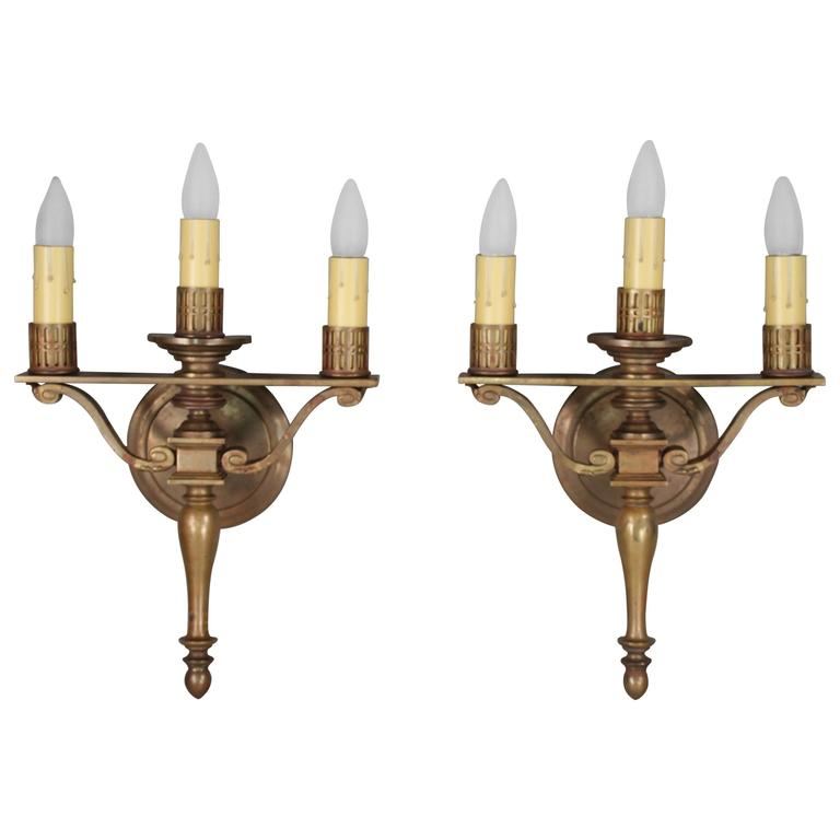 Pair of 1920s Three-Light Sconces Attributed to the Caldwell Company For Sale
