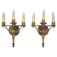 Pair of 1920s Three-Light Sconces Attributed to the Caldwell Company