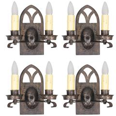 One of Four Spanish Revival Double Light Sconces with Arched Top