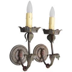 Elegant Pair of 1920s Spanish Revival Single Light Sconces