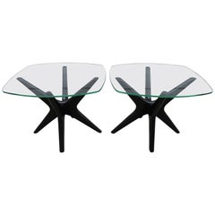 Fabulous Pair of Adrain Pearsall Jax Lacquered Side End Table Mid-Century Modern