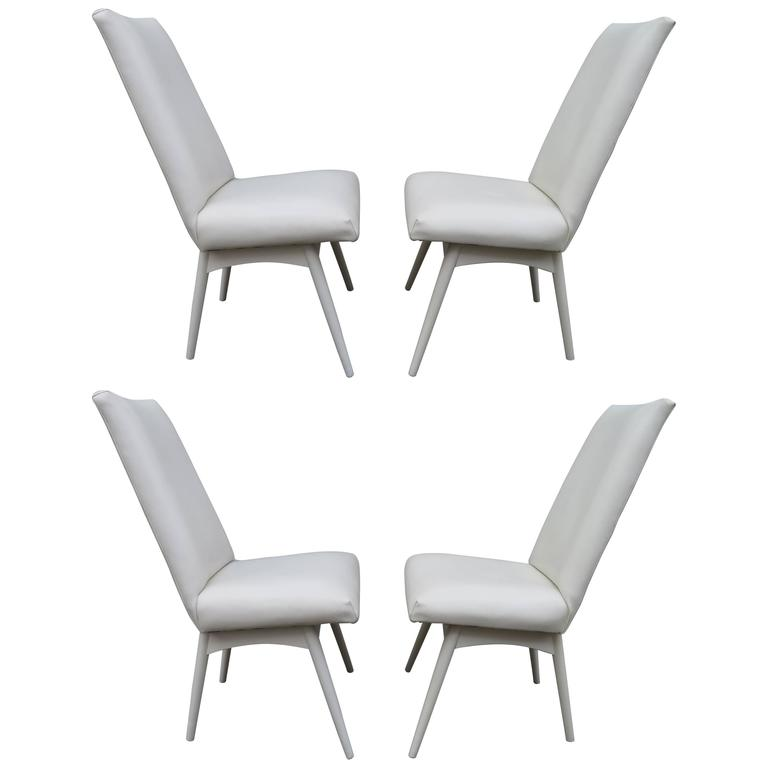Set Four Adrian Pearsall  White Lacquered Dining Chairs, Mid-Century Modern