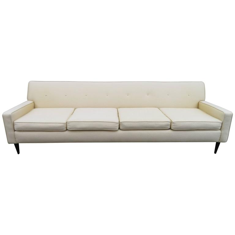 Handsome Harvey Probber Style Four-Seat Sofa, Mid-Century Modern
