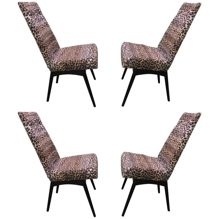 Fantastic Set Four Adrian Pearsall Lacquered Dining Chairs Mid-Century Modern For Sale