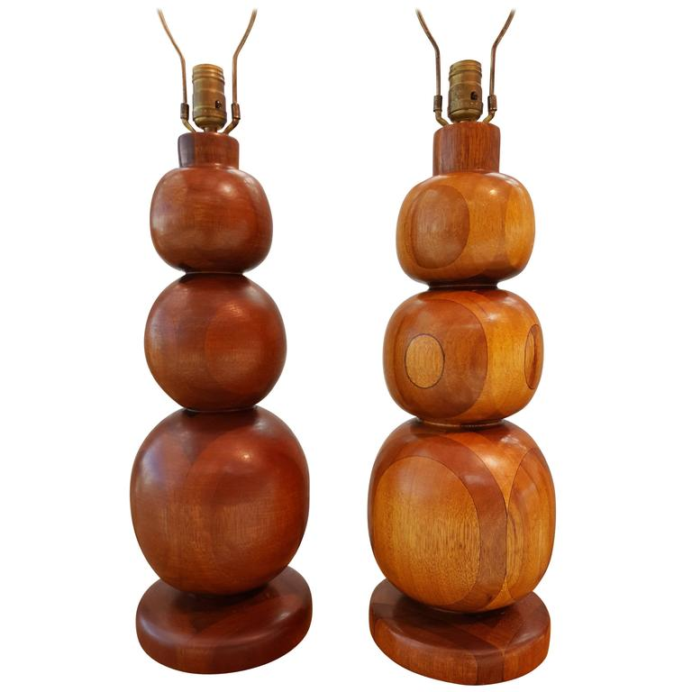 Table Lamps with Turned Wood Graduated Spheres