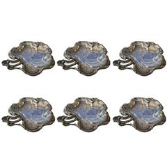 """Queille Set of Six French Silver """"Shell"""" Bowl"""