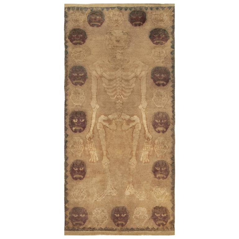 Antique Skeleton Tibetan Rug