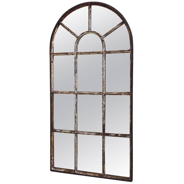 Antique Victorian Industrial Arched Top Cast Iron Window