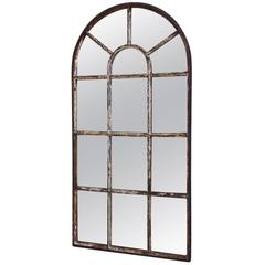 Antique Victorian Industrial Arched Top Cast Iron Window Mirror