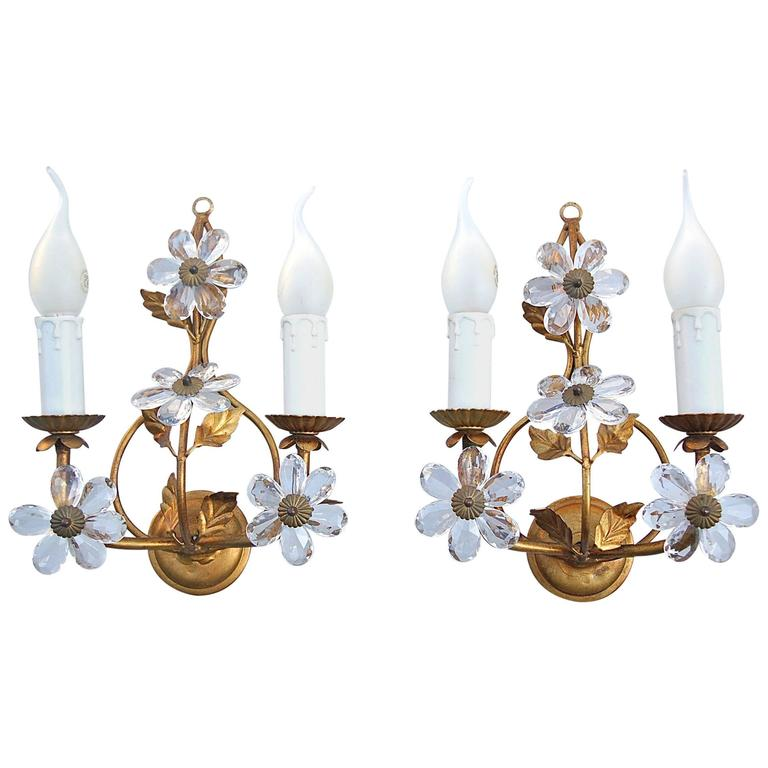 Wall Sconces With Flowers: Gold Colored Candle Wall Sconce With Crystal Flowers