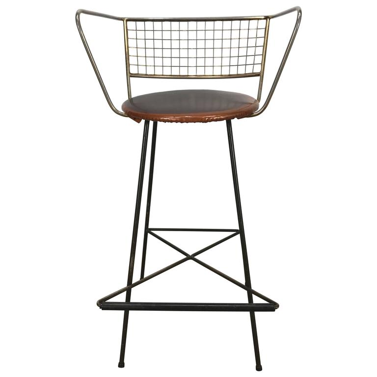 Classic Mid-Century Modern Brass and Wire Iron Stool