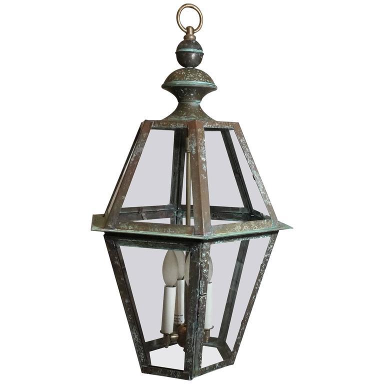 Hanging copper lantern, 20th century
